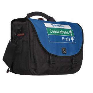 Ipanema/Copacabana/Beach, Brazil Traffic Sign Laptop Bags