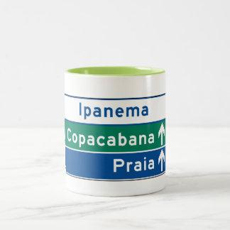 Ipanema/Copacabana/Beach, señal de tráfico del Taza De Dos Tonos