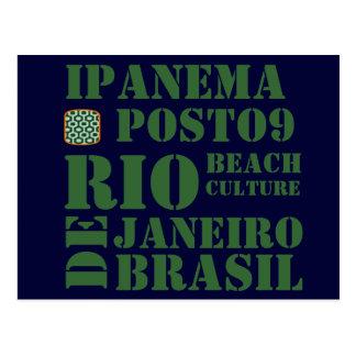 ipanema  posto 9, beach culture postcard