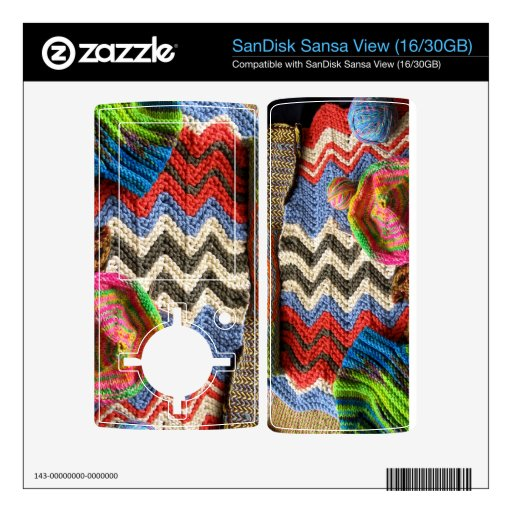 ipc Artisanware Knit Sansa MP3 Player Skin Decals For Sansa View