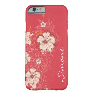 iPhon floral abstracto de marfil rosado oscuro del