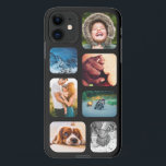 """iPhone11 Photo Collage Template Rounded Phone iPhone 11 Case<br><div class=""""desc"""">Custom Personalized 7 Photo Collage with Black Frame iPhone 11 Phone Case</div>"""