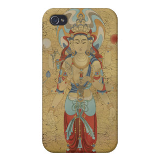 iPhone4 - 8 Arm Guan Yin Crackle Background Case For iPhone 4