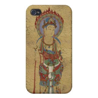 iPhone4 - Fondo del crujido de Buda de la mandala iPhone 4 Fundas