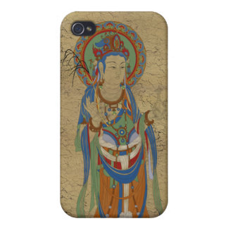 iPhone4 - Guan Yin Buddha Crackle Background iPhone 4/4S Cases