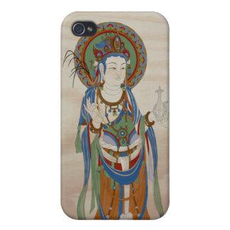 iPhone4 - Guan Yin Buddha Doug Fir Background Cases For iPhone 4