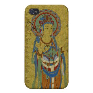 iPhone4 - Guan Yin Buddha Maple Leaf Background iPhone 4 Covers