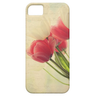 iphone4- pink and white tulips case