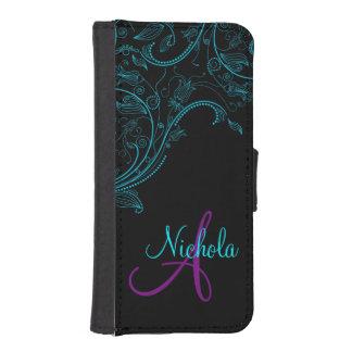 iPhone5 azul y púrpura de la fantasía floral de Billeteras Para Teléfono