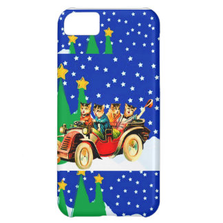 IPHONE5 CASE - WINTER FUN- WILD CATS AND MODEL T CASE FOR iPhone 5C