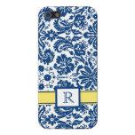 iPhone5 Custom Monogram Blue Lemon Floral Damask iPhone 5 Covers