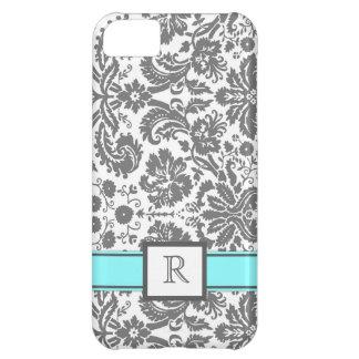iPhone5 Custom Monogram Grey Aqua Floral Damask Case For iPhone 5C