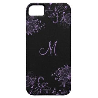 iPhone5 floral bosquejado negro y púrpura femenino Funda Para iPhone SE/5/5s