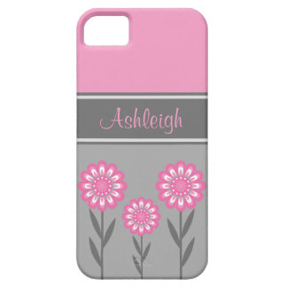 iPhone5 Girly Pink and Gray Flowers Stripes iPhone SE/5/5s Case