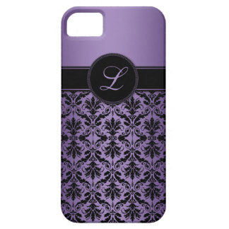 iPhone5 Purple and Black Damask Monogram iPhone SE/5/5s Case