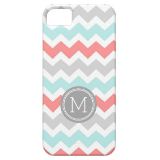 iPhone5s Coral Teal Chevron Monogram iPhone 5 Covers
