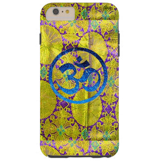 IPHONE6 CASE - SILK AND GOLD BLUE OM FAUX FABRIC TOUGH iPhone 6 PLUS CASE