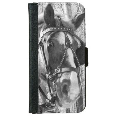 iPhone6 Wallet Case - B&W Horse