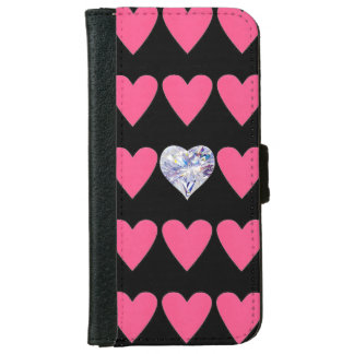 IPHONE6 WALLET/DIAMOND PINK HEARTS W ONE DIAMOND WALLET PHONE CASE FOR iPhone 6/6S