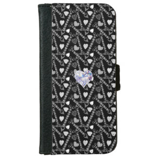 IPHONE6 WALLET/OVERALL HEART PATTERN W. DIAMOND iPhone 6/6S WALLET CASE