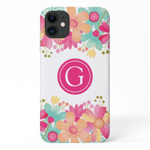 Iphone 11 Gouache Floral Personalized Initial Case