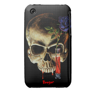Iphone 3 barely there - Skull Blood & Roses iPhone 3 Case