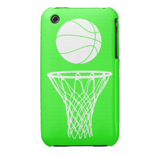 iPhone 3 Basketball Silhouette White on Green iPhone 3 Case-Mate Case