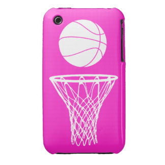 iPhone 3 Basketball Silhouette White on Pink iPhone 3 Case-Mate Case
