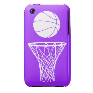 iPhone 3 Basketball Silhouette White on Purple Case-Mate iPhone 3 Case