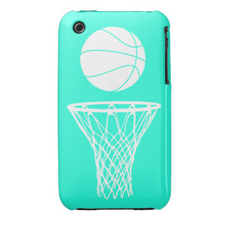 iPhone 3 Basketball Silhouette White on Turquoise iPhone 3 Case