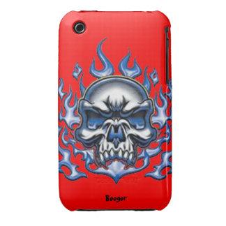Iphone 3 BT - cráneo cristalino con las llamas iPhone 3 Case-Mate Cobertura
