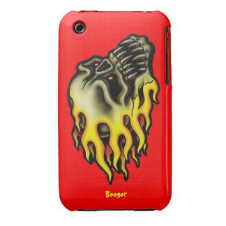 Iphone 3 BT - cráneo llameante del motorista Case-Mate iPhone 3 Carcasa