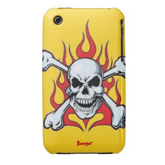Iphone 3 BT - Metal el cráneo con las llamas iPhone 3 Case-Mate Coberturas
