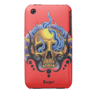 Iphone 3 bt - Old Skool Tattoo Skull with Flames iPhone 3 Case