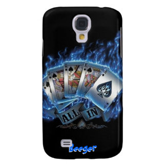 IPhone 3 Case- Royal Flush with Blue Flames Galaxy S4 Cover