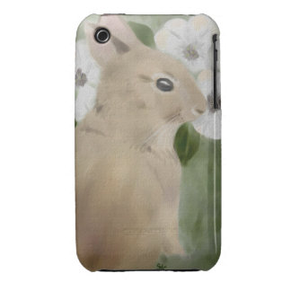 iPhone 3 Case with Baby Bunny and Flowers