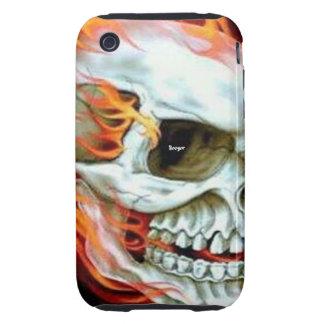 Iphone 3 duro - cara del cráneo en el fuego iPhone 3 tough cobertura