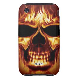 Iphone 3 duro - cara del cráneo en el fuego tough iPhone 3 fundas
