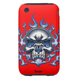Iphone 3 duro - cráneo cristalino con las llamas tough iPhone 3 funda