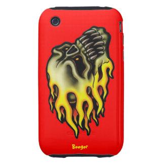 Iphone 3 duro - cráneo llameante del motorista iPhone 3 tough funda