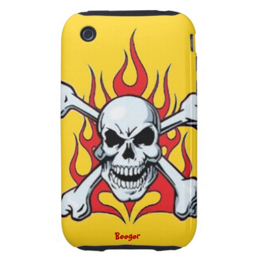 Iphone 3 duro - Metal el cráneo con las llamas iPhone 3 Tough Protectores