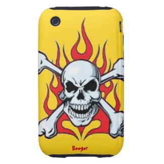Iphone 3 duro - Metal el cráneo con las llamas iPhone 3 Tough Protector