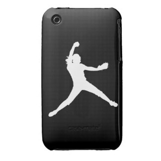 iPhone 3 Fastpitch Silhouette White on Black iPhone 3 Case