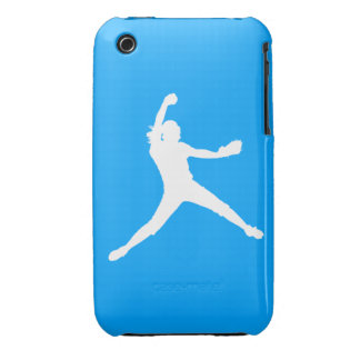 iPhone 3 Fastpitch Silhouette White on Blue iPhone 3 Covers