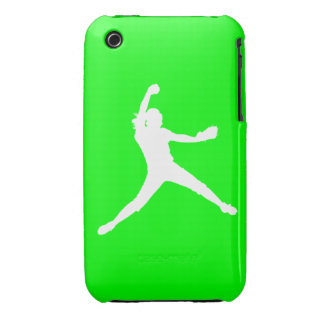 iPhone 3 Fastpitch Silhouette White on Green iPhone 3 Case-Mate Case