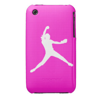 iPhone 3 Fastpitch Silhouette White on Pink iPhone 3 Case