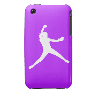 iPhone 3 Fastpitch Silhouette White on Purple iPhone 3 Cases