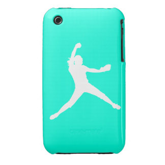 iPhone 3 Fastpitch Silhouette White on Turquoise iPhone 3 Case-Mate Case