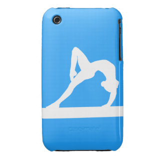 iPhone 3 Gymnast Silhouette White on Blue Case-Mate iPhone 3 Case