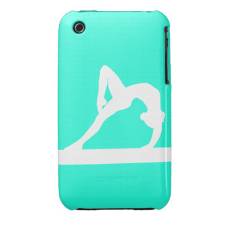 iPhone 3 Gymnast Silhouette White on Turquoise iPhone 3 Case